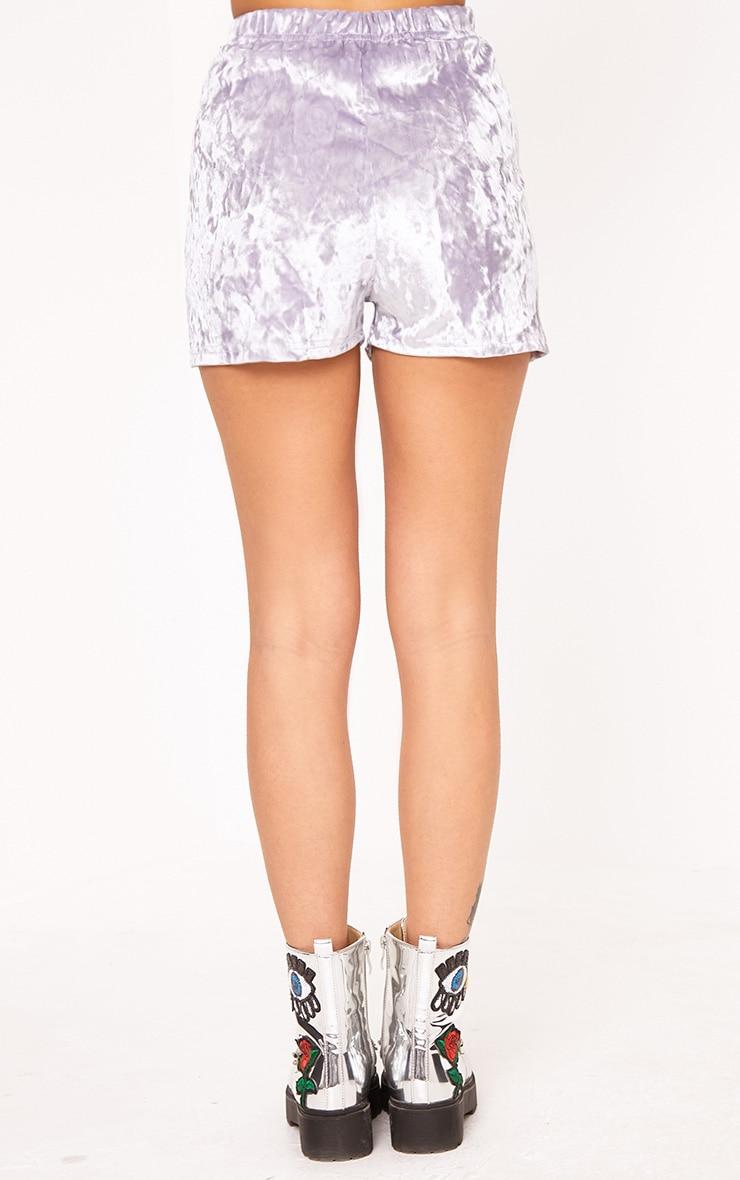 Aletia Lilac Velvet Lace Up Shorts  4
