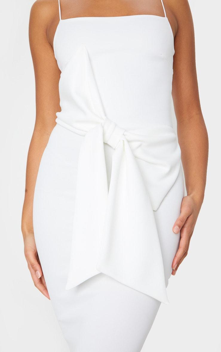 White Bow Front Detail Midi Dress 4