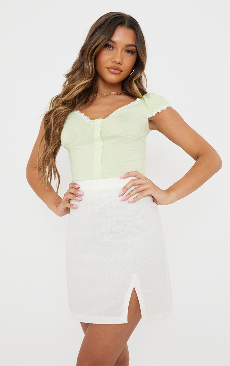 Lime Jersey Lace Frill Button Up Top