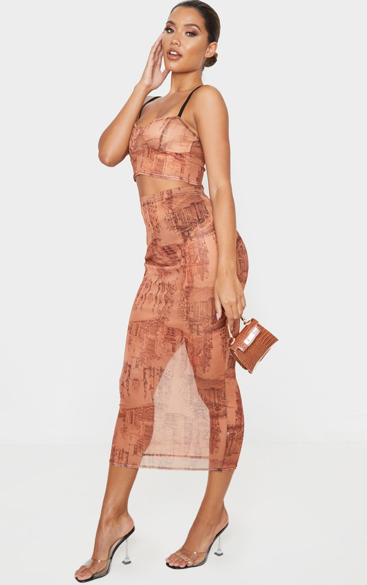 Rust Sketch Print Mesh Midaxi Skirt 1