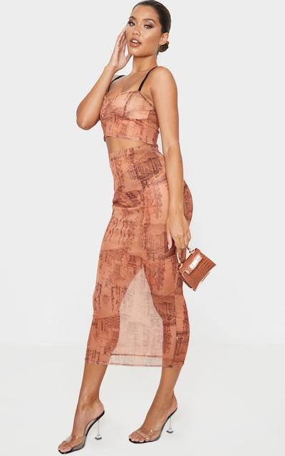 Rust Sketch Print Mesh Midaxi Skirt