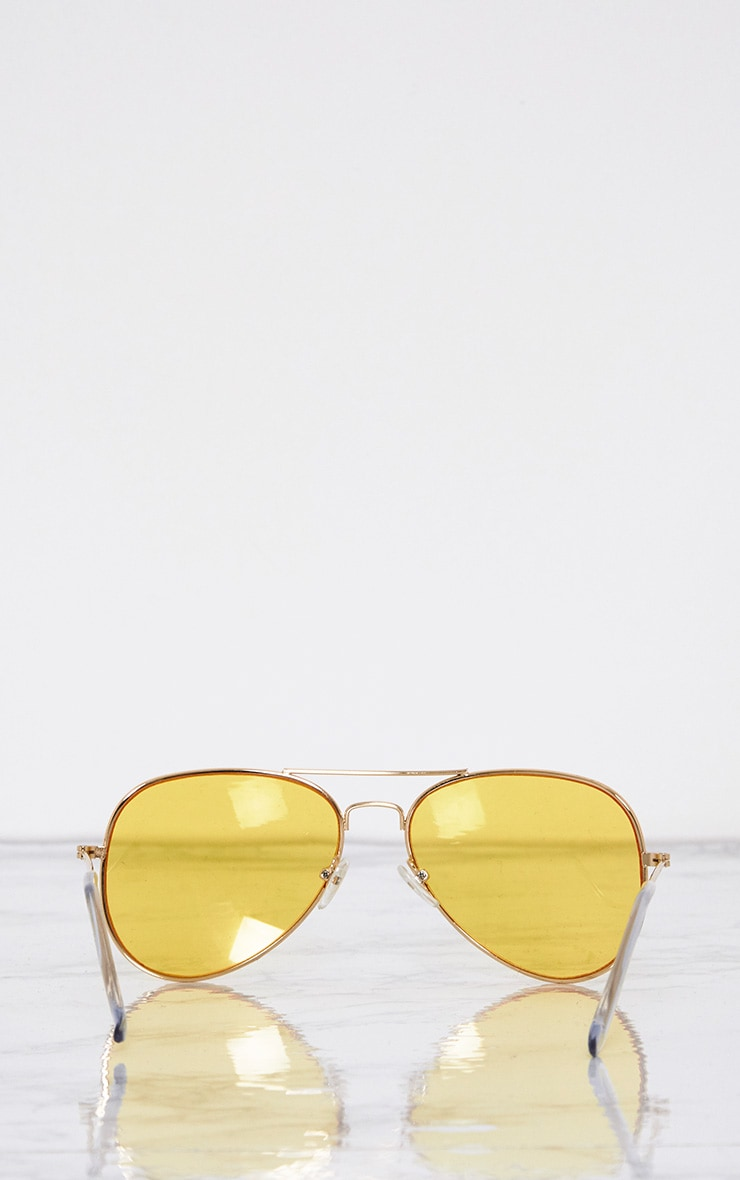 Kelie Yellow Tinted Lens Aviators 5