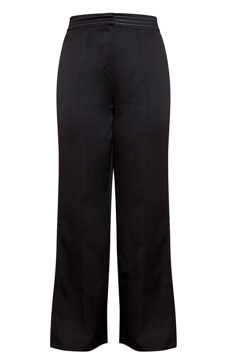 Plus Black Seam Detail Wide Leg Pants 3