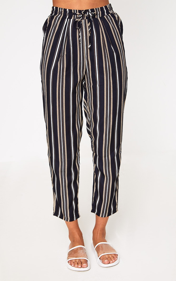 Black Multi Stripe Casual Trousers 2