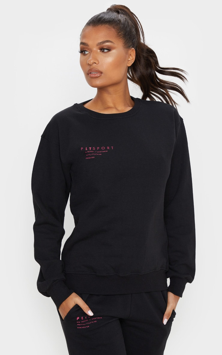 PRETTYLITTLETHING Black Care Logo Gym Sweat Top 1