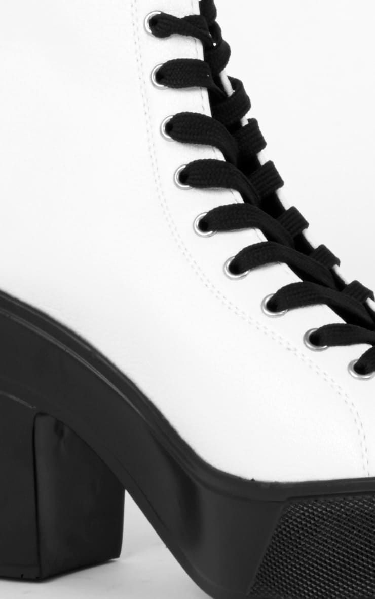 Demi Monochrome Lace Up Peep Toe Boot  3