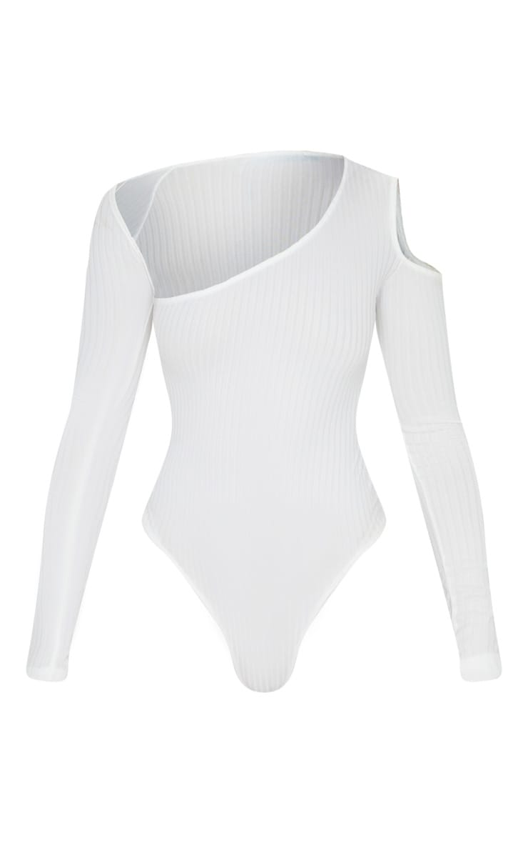 Cream Rib Cut Out Long Sleeve Bodysuit 3