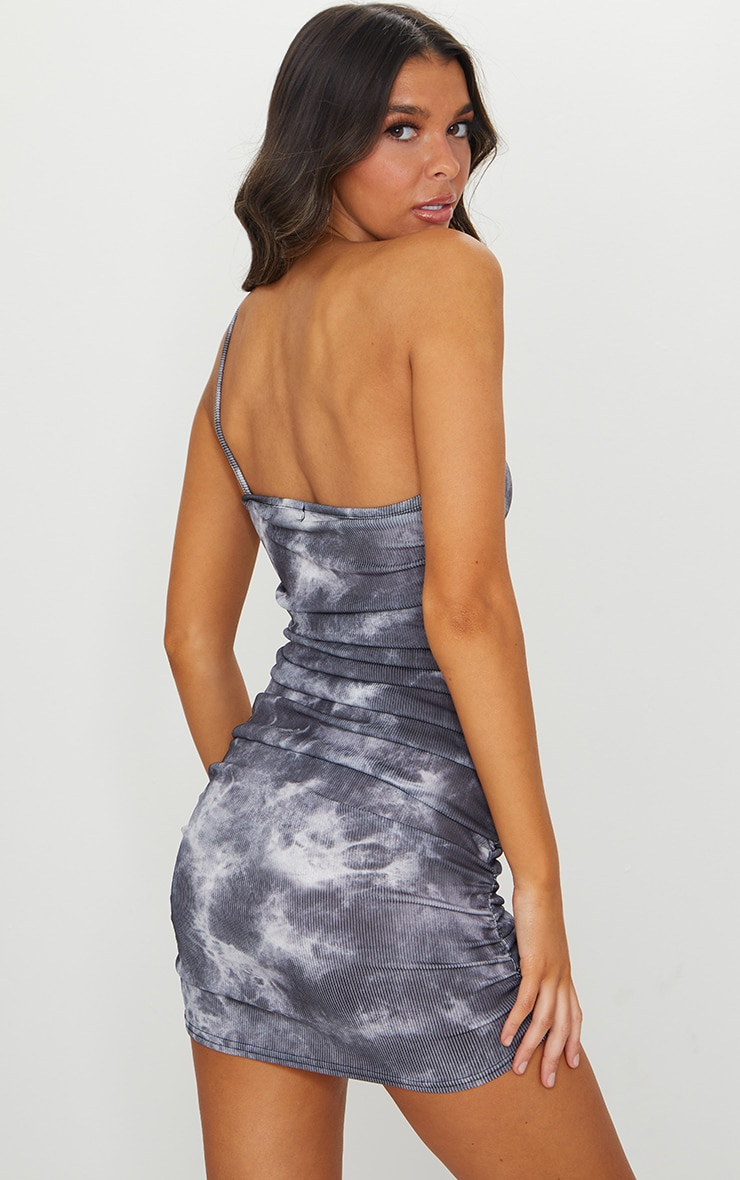 Black Tie Dye Ribbed One Shoulder Ruched Bodycon Dress 2