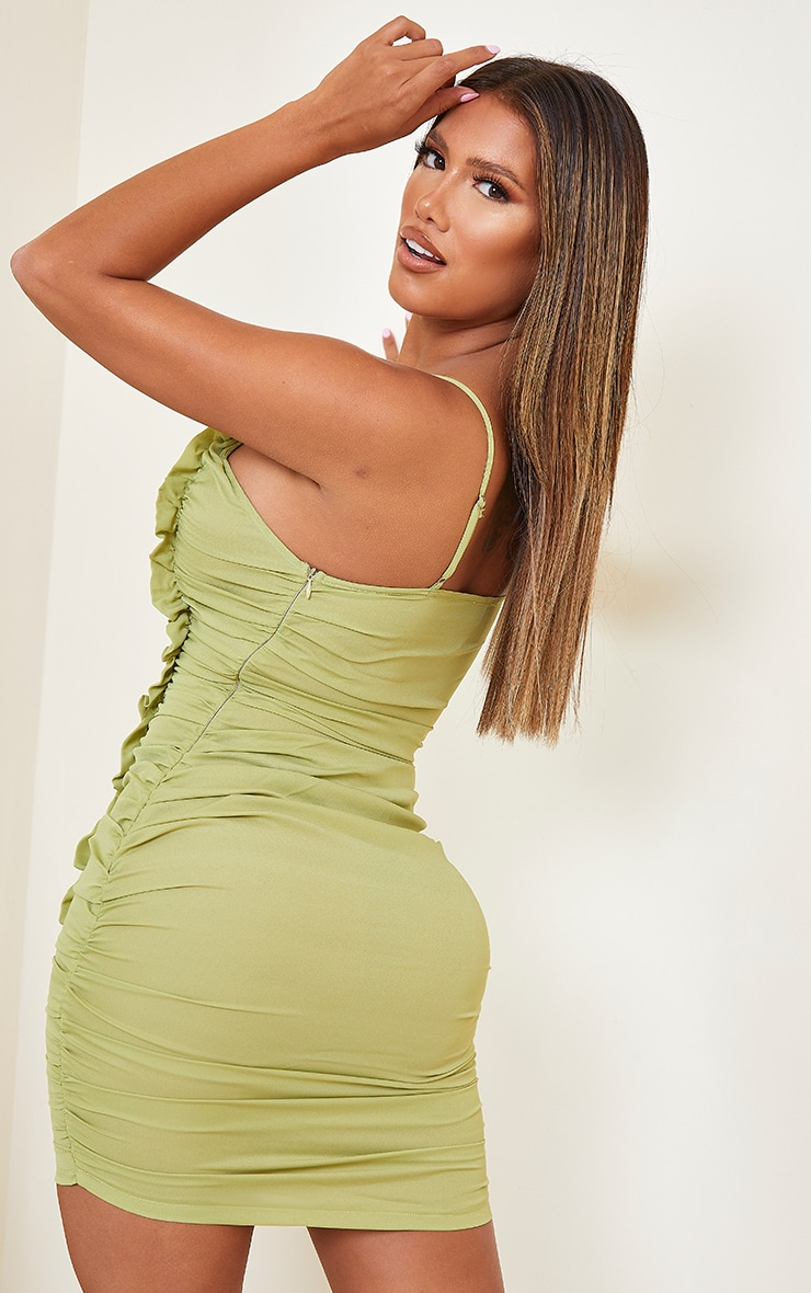 Shape Lime Chiffon Plunge Ruched Bodycon Dress 2