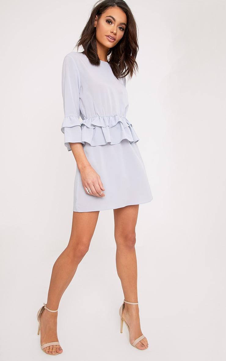 Demi Ice Grey Frill Detail Shift Dress  3