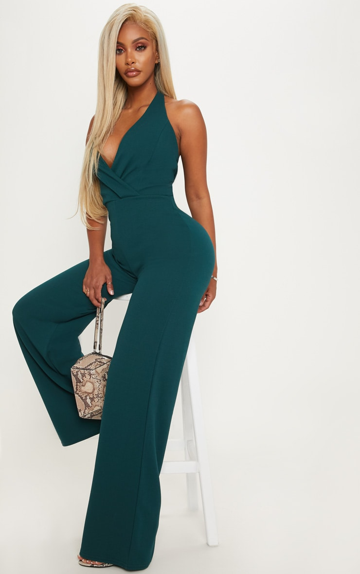 Shape Emerald Green Plunge Halterneck Jumpsuit 5