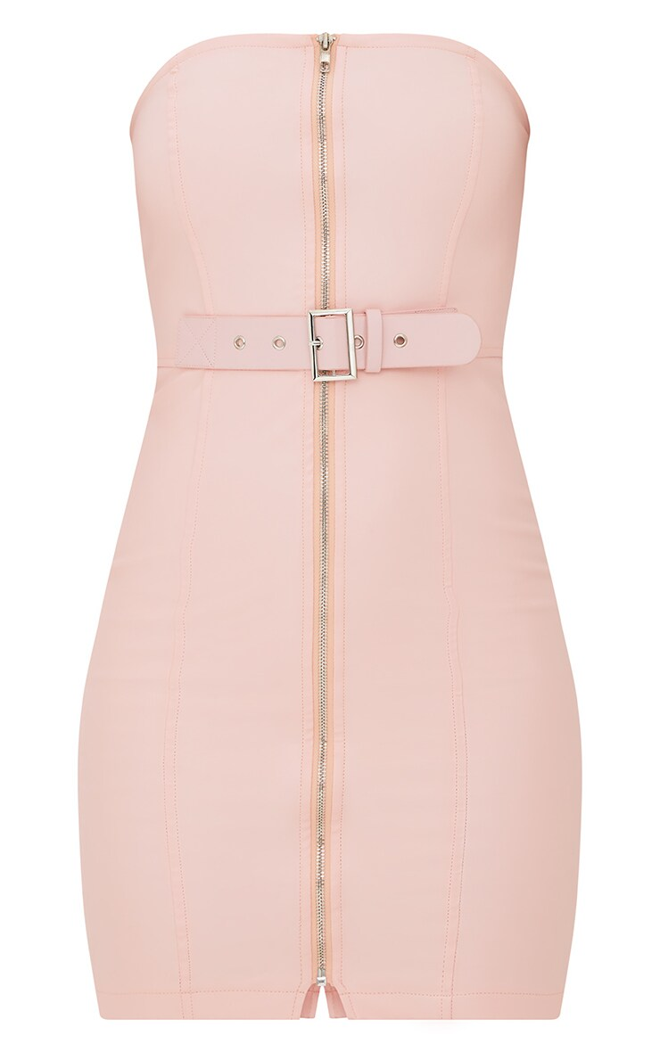 Nude Faux Leather Belt Detail Bodycon Dress 3