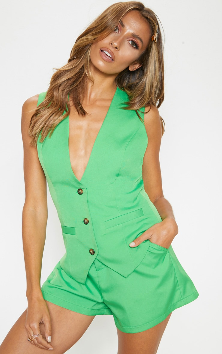 Neon Green Fitted Waistcoat 1