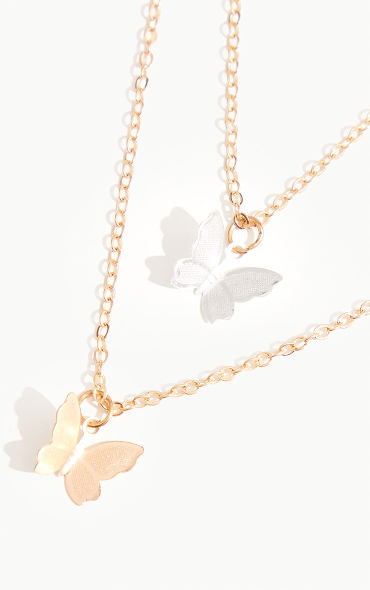 Gold Double Butterfly Chain Necklace 3