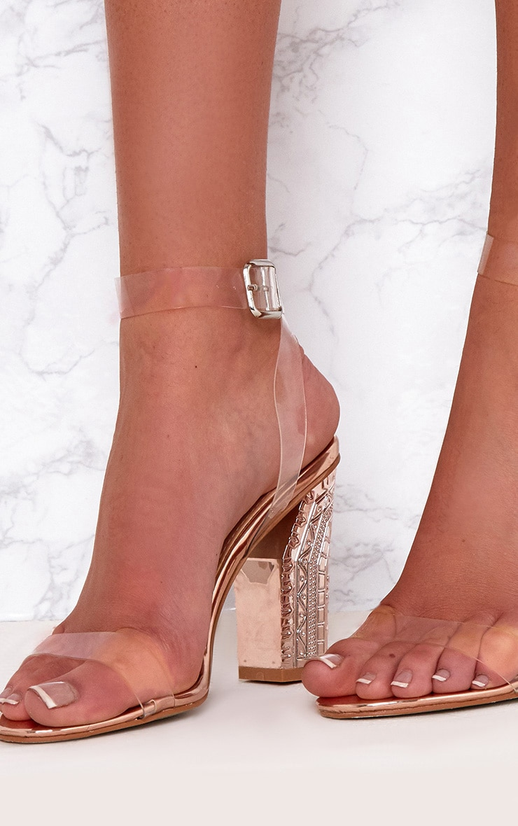Rose Gold Clear Strap Ornate Heels 5