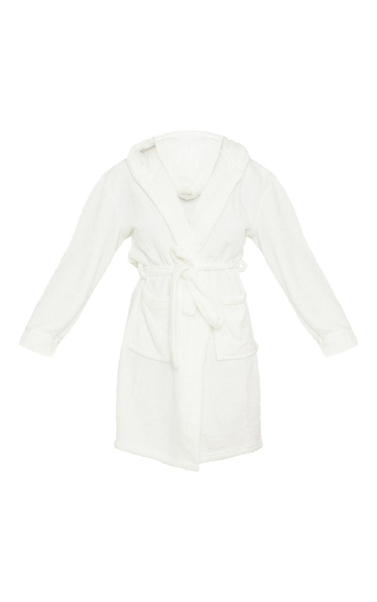 White Satin Trim Fleece Hooded Dressing Gown 5