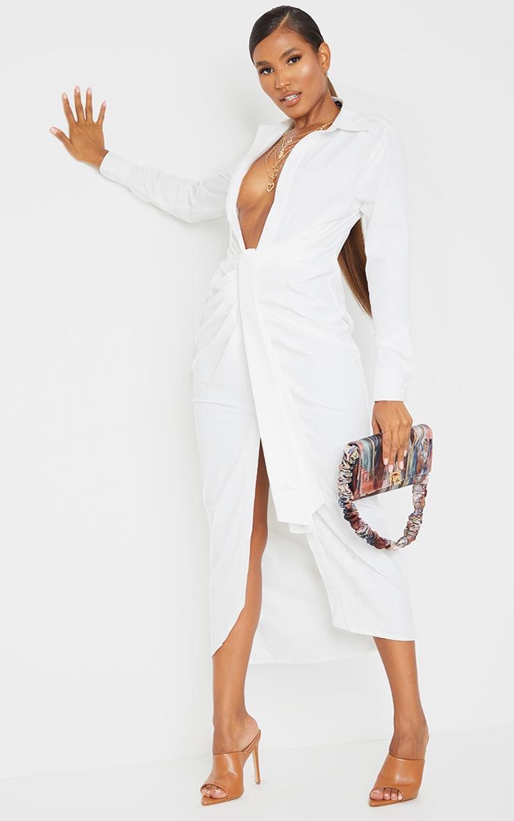White Long Sleeve Plunge Drape Detail Midi Shirt Dress 3