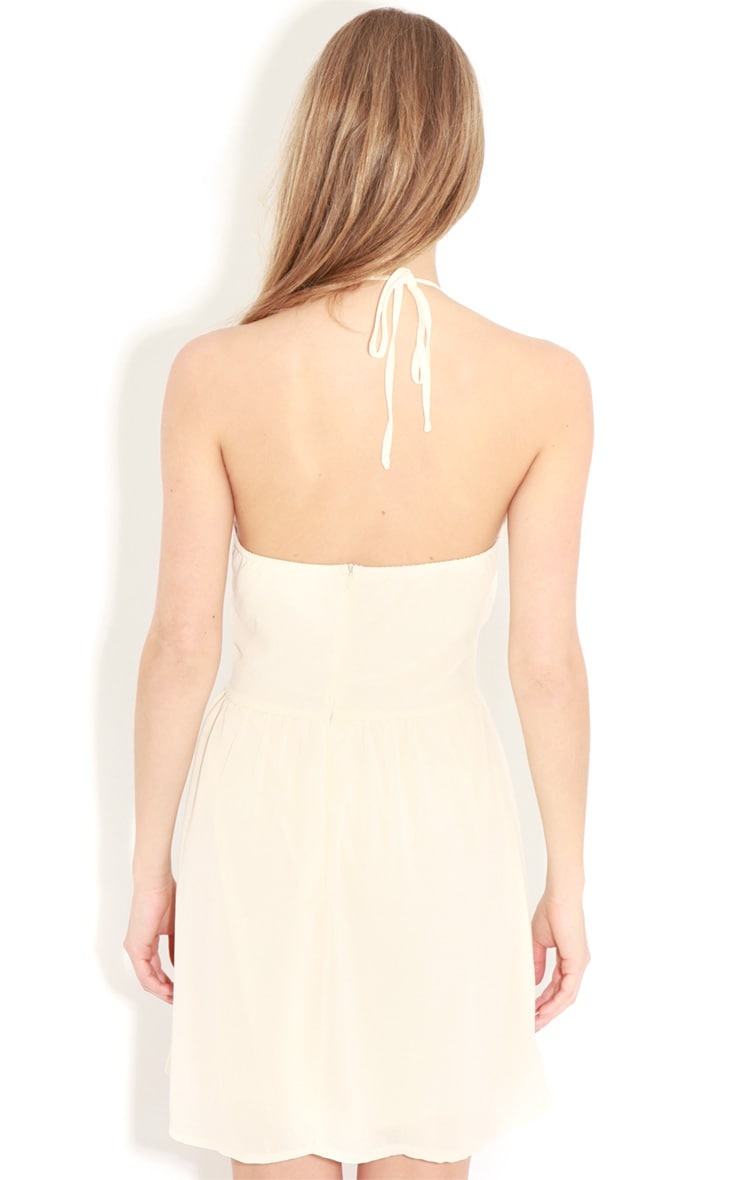 Lisa-Ann Cream Lace Panel Halterneck Dress 2
