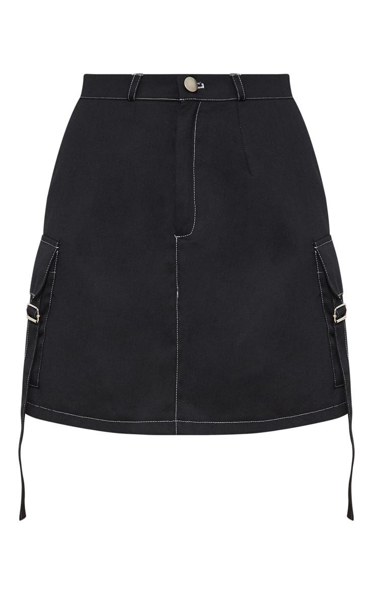 Black Contrast Stitch Buckle Pocket Detail A Line Skirt 3