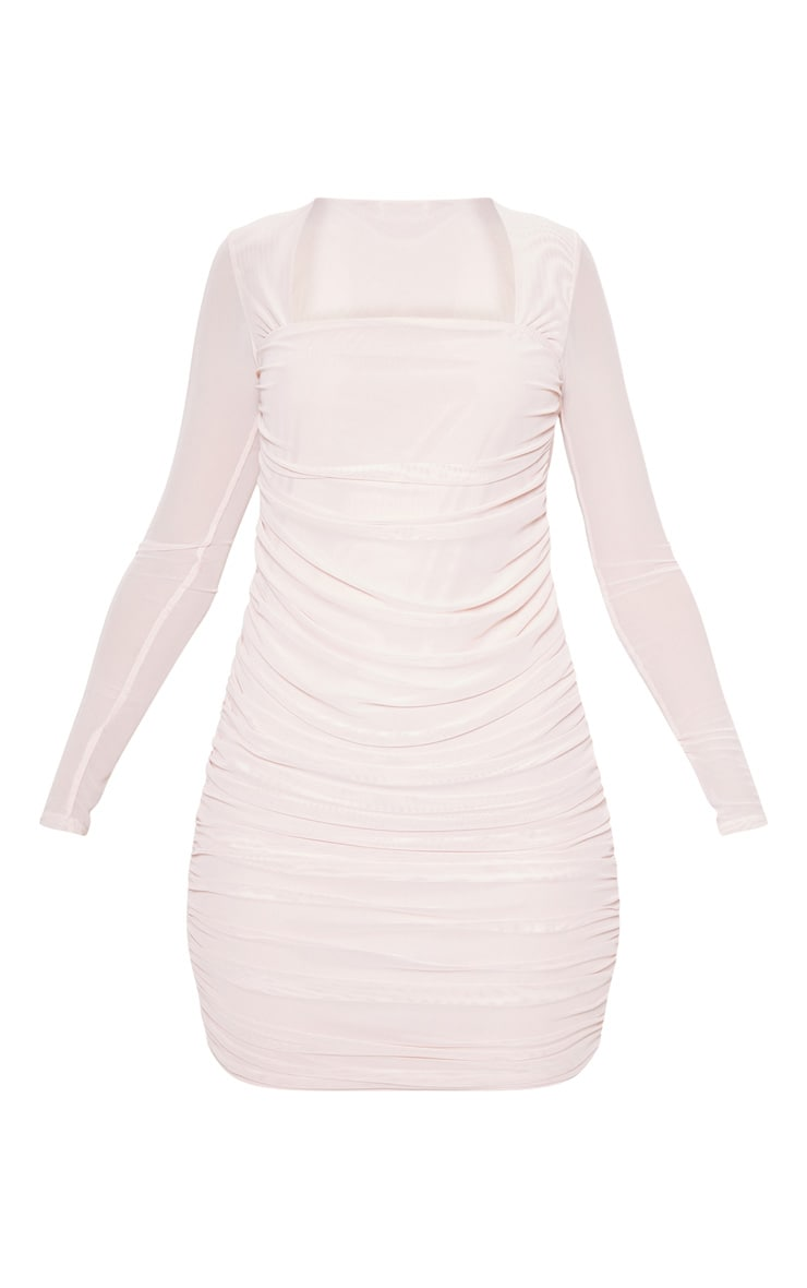 Nude Mesh Long Sleeve Ruched Bodycon Dress 3