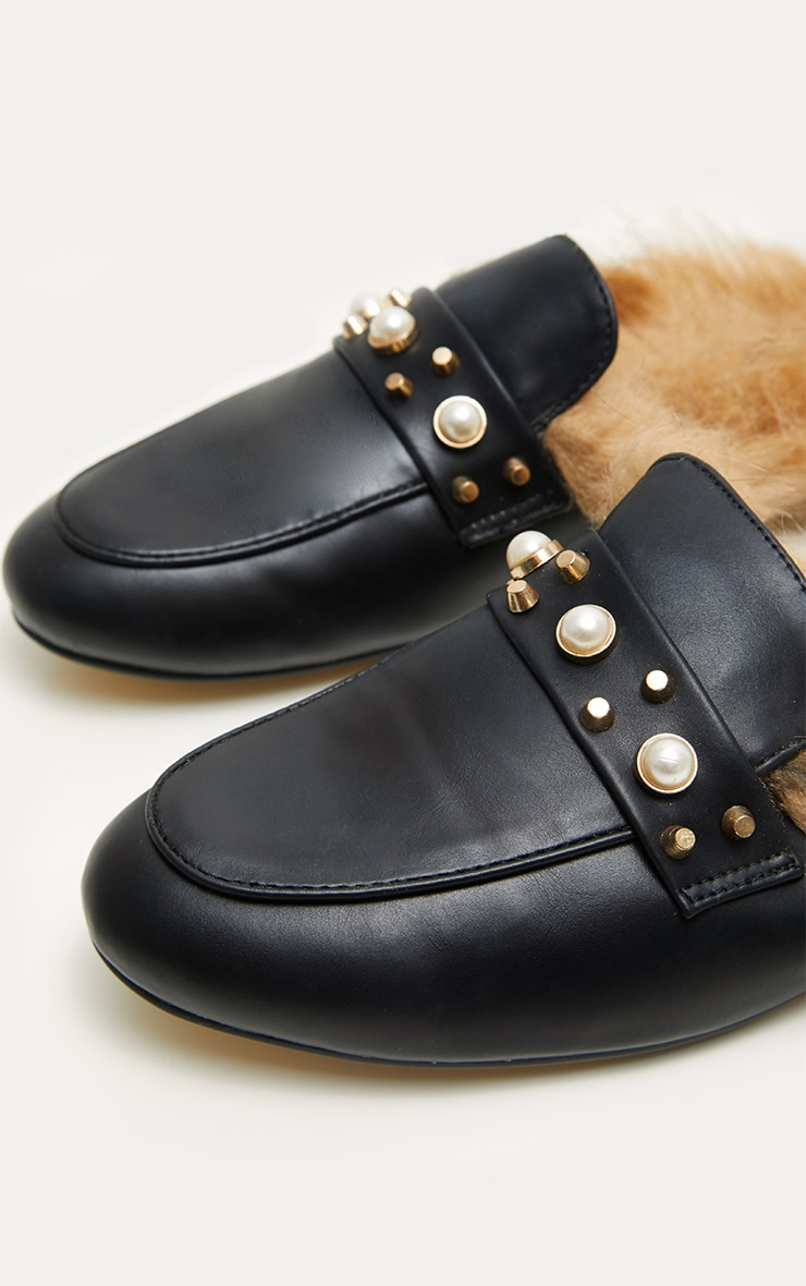 Black Pearl Studded Mules  4