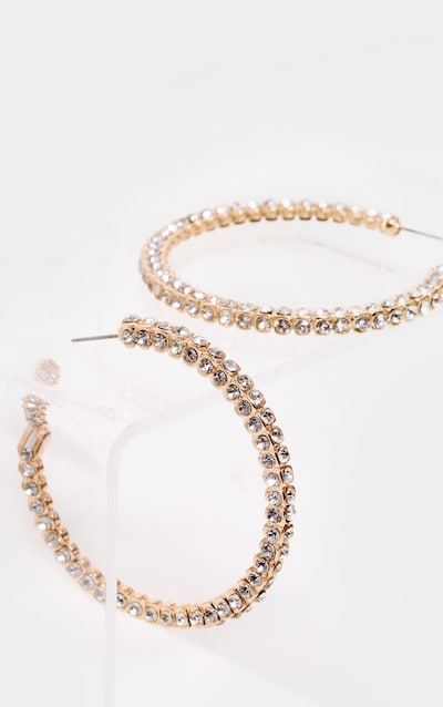 Gold Fixed Diamante Squared Hoop Earrings