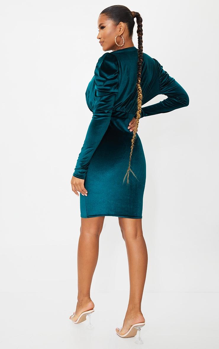 Emerald Green Velvet Cowl Ruched Long Sleeve Midi Dress 2
