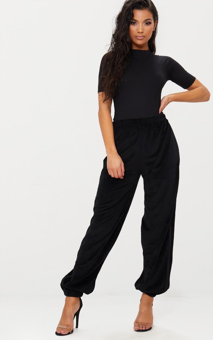 Body-string en coton noir à col montant 5