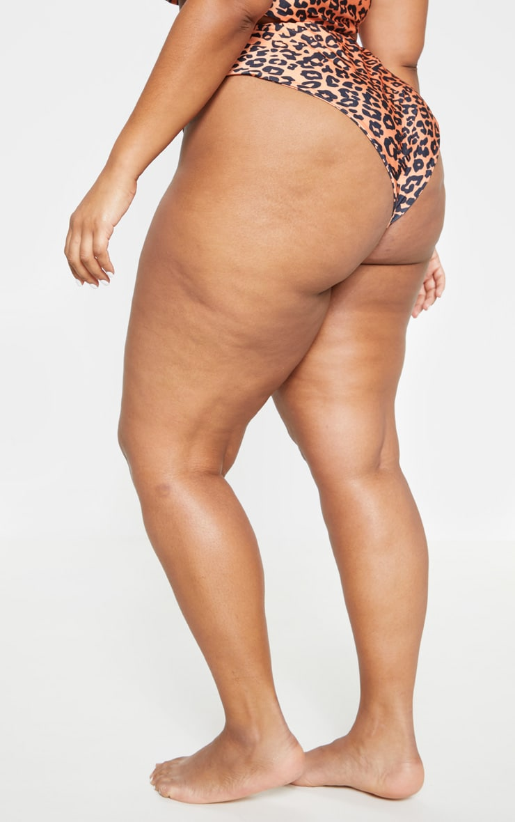 Plus Orange Leopard Print High Rise Bikini Bottom 4