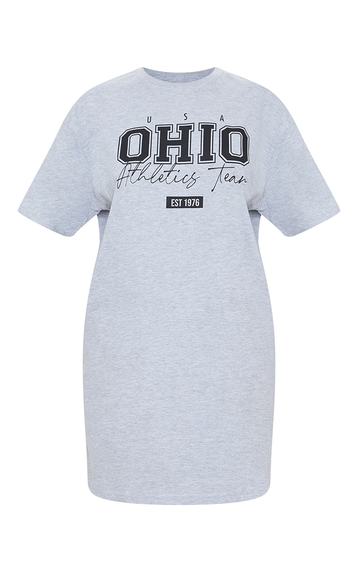Grey Marl OHIO USA Graphic Oversized T Shirt Dress 5