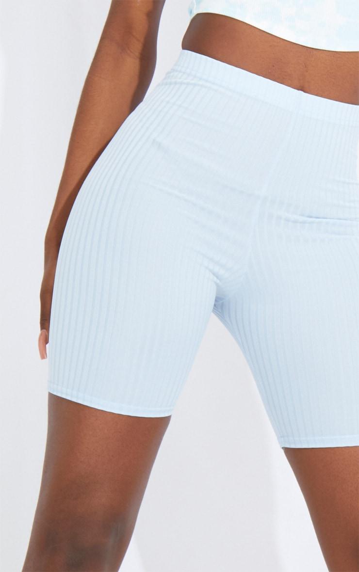 Tall Baby Blue Ribbed Cycle Shorts 5