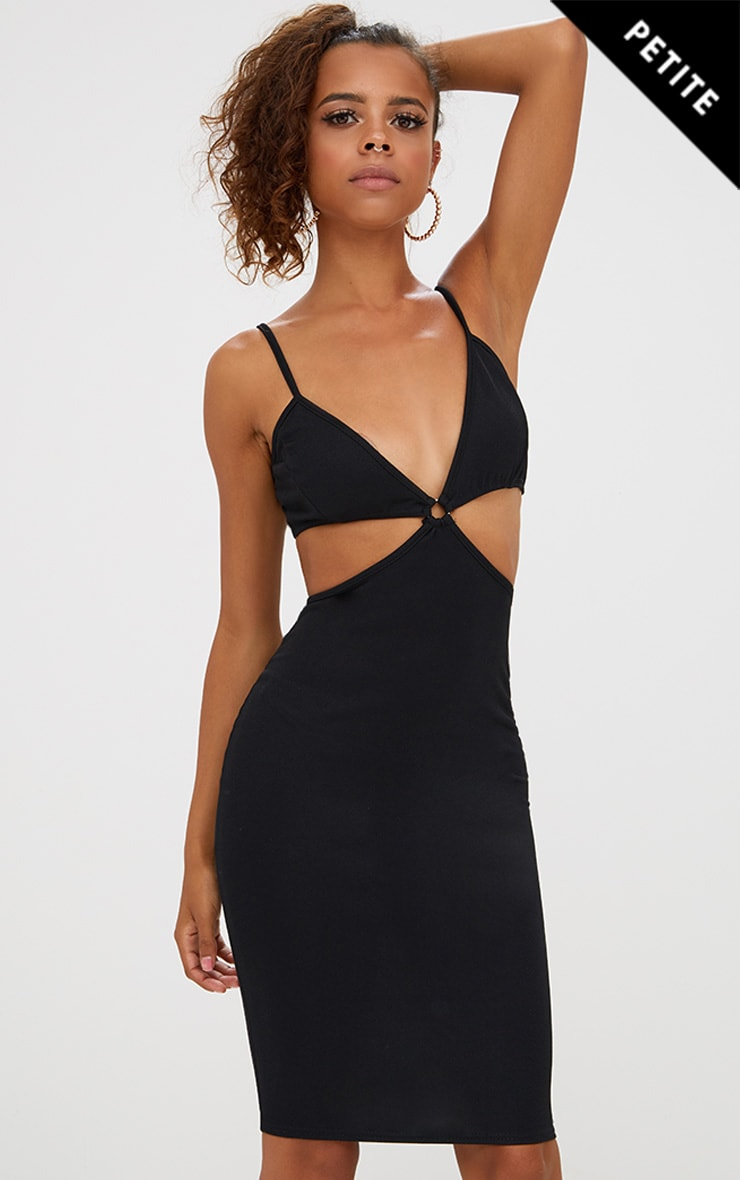 Petite Black Cut Out O-Ring Midi Dress 1
