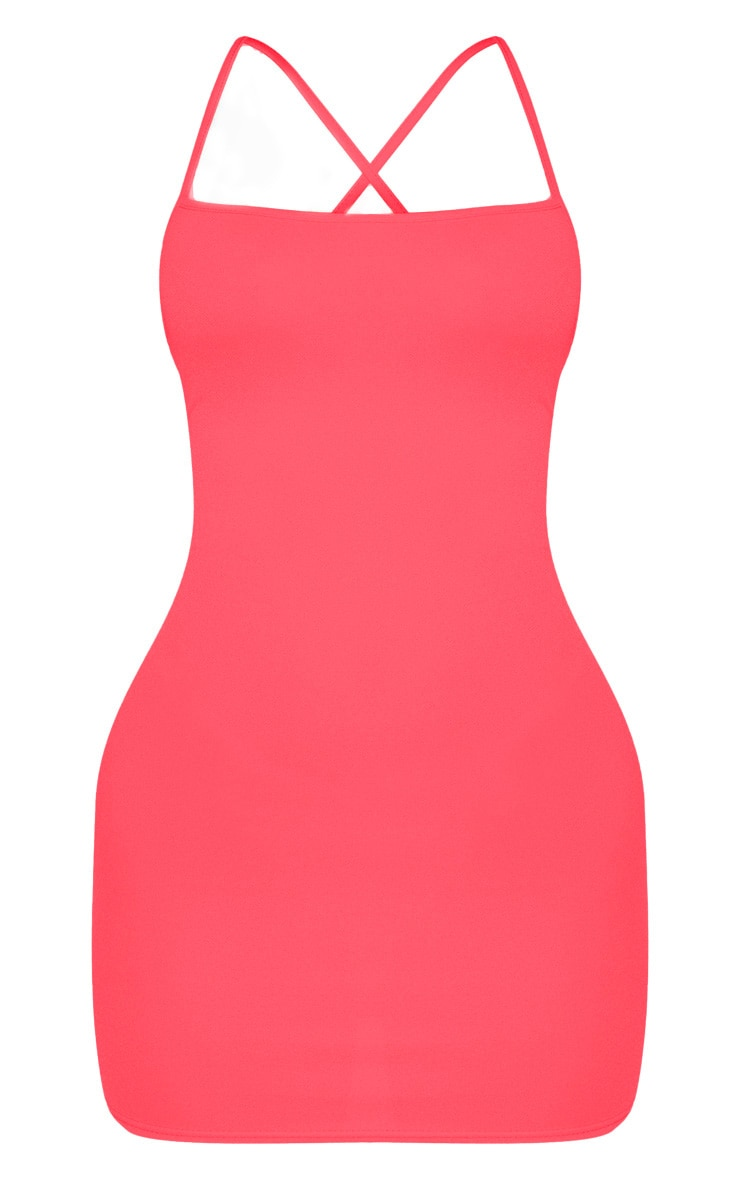 Neon Pink Strappy Cross Back Bodycon Dress 3