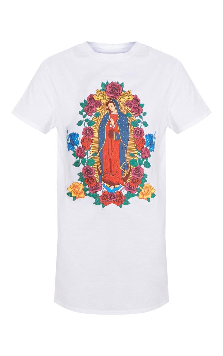 White Floral Renaissance Portrait Print T Shirt Dress 3