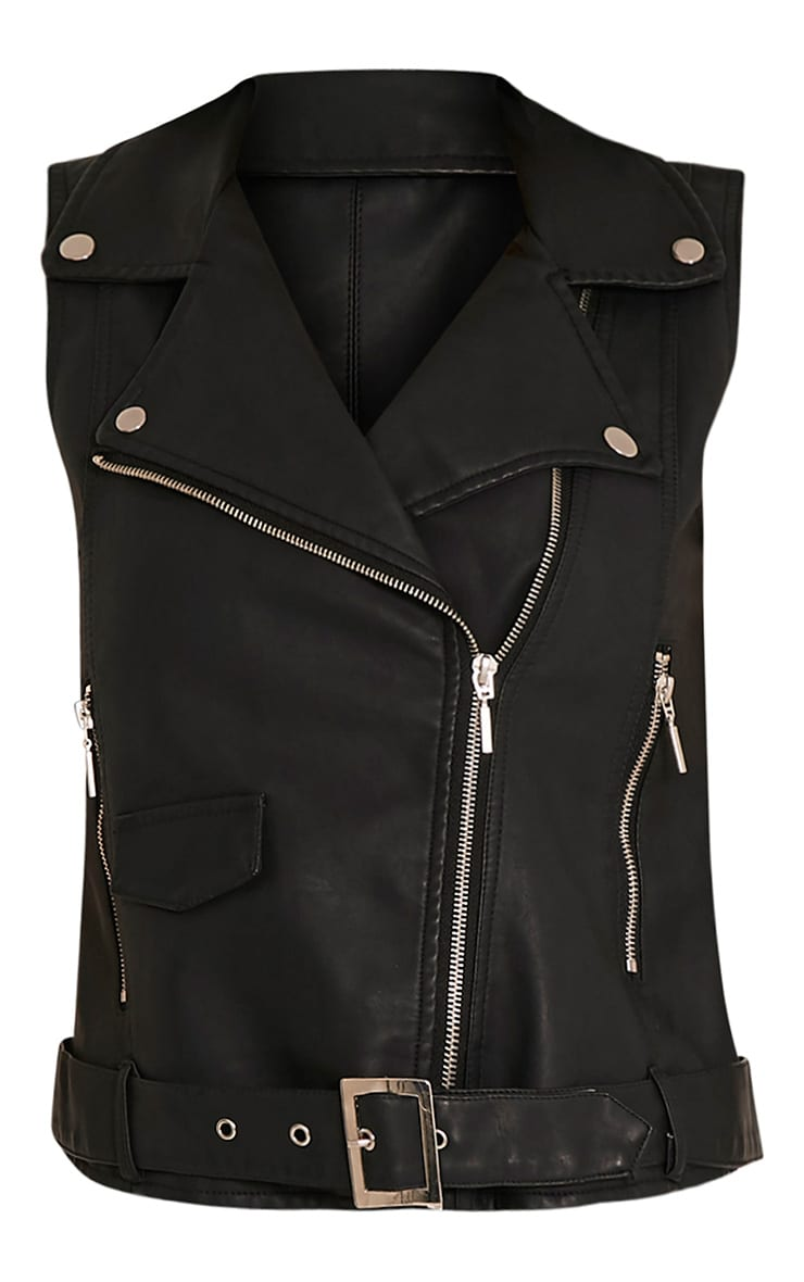 Lucie Black PU Sleeveless Biker Jacket 3