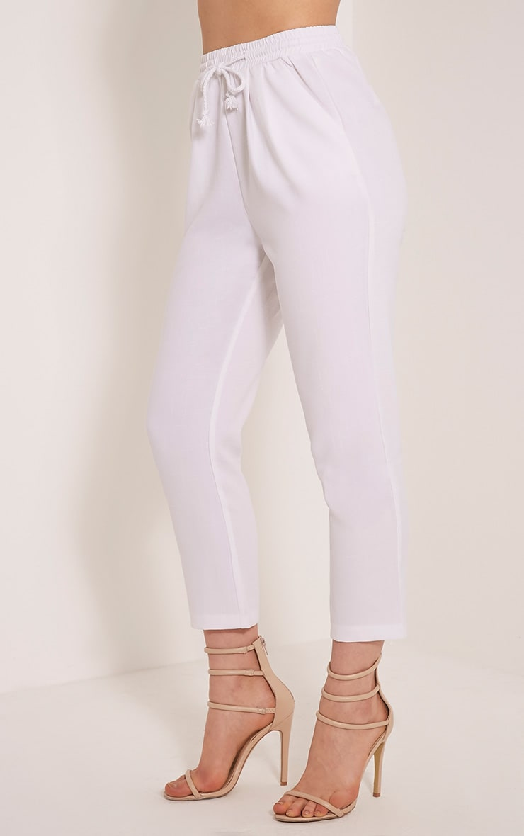 Diya White Cropped Trousers 4
