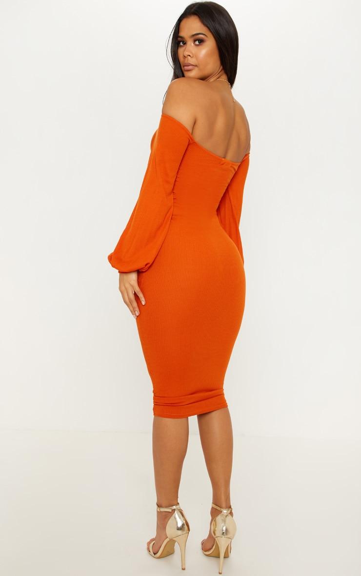 Burnt Orange Ribbed Balloon Sleeve Ruched Midi Dress 2