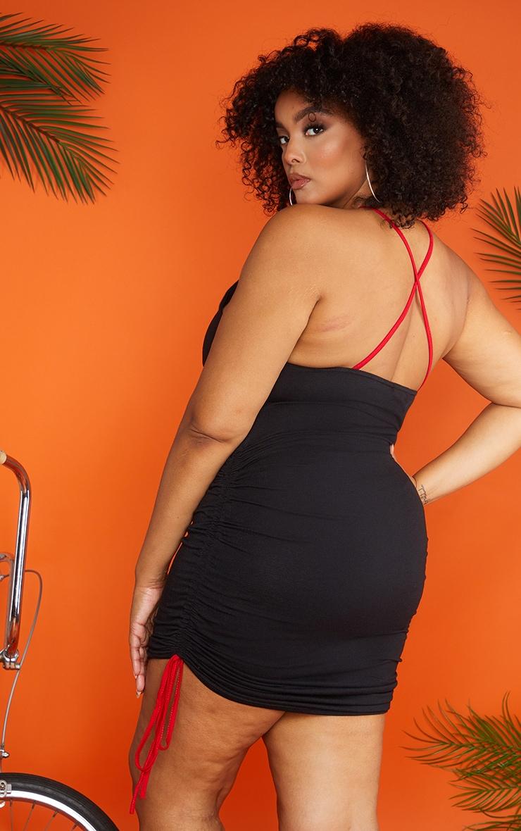 Plus Black Ruched Mala Bodycon Dress 2