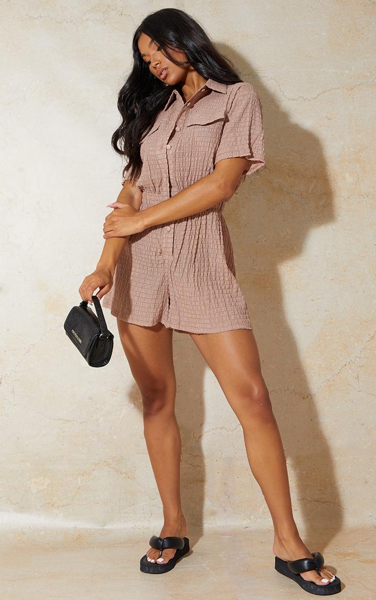 Chocolate Crinkle Stripe Short Sleeve Shirt Romper 1