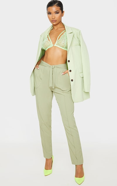 Sage Woven Tie Front Skinny Trouser