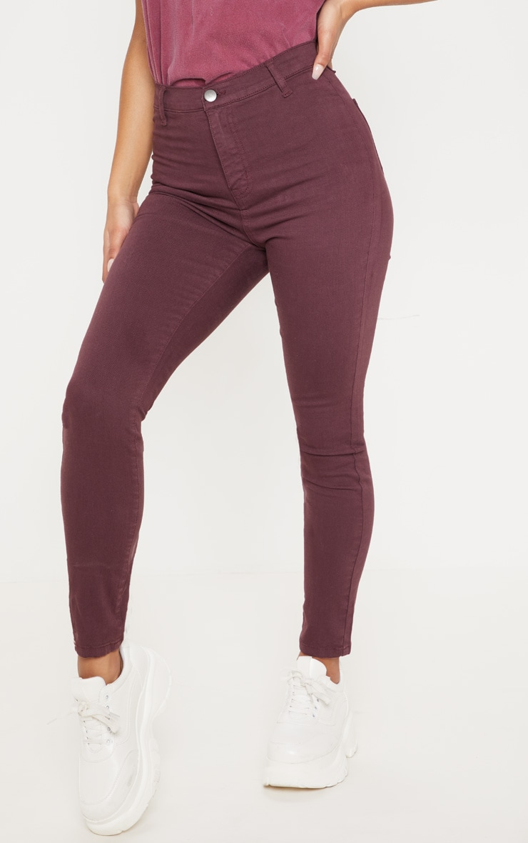 Burgundy Disco Skinny Jeans 2
