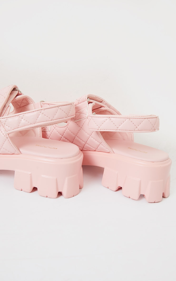 Pink PU Quilted Velcro Strap Cleated Sole Sandals 4