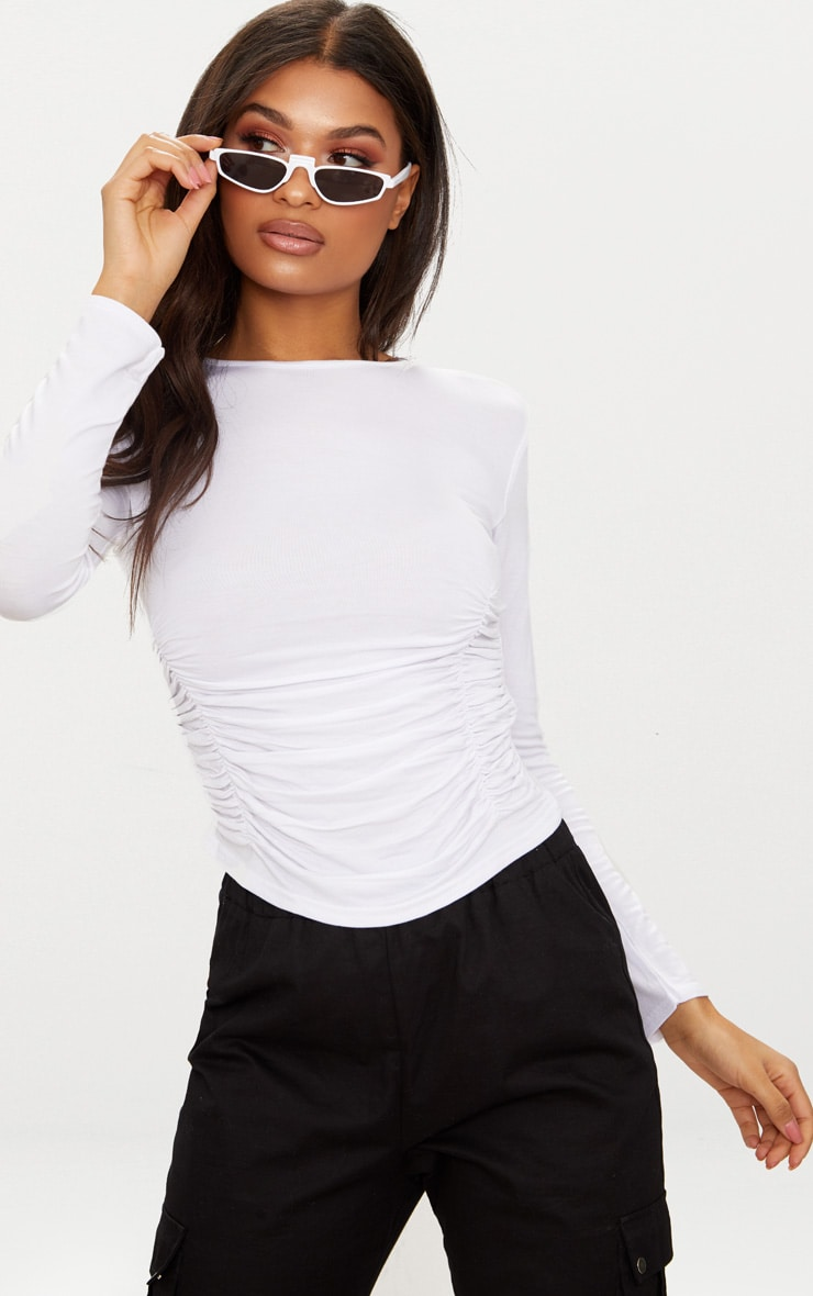 White Long Sleeve Ruched Front Top  1