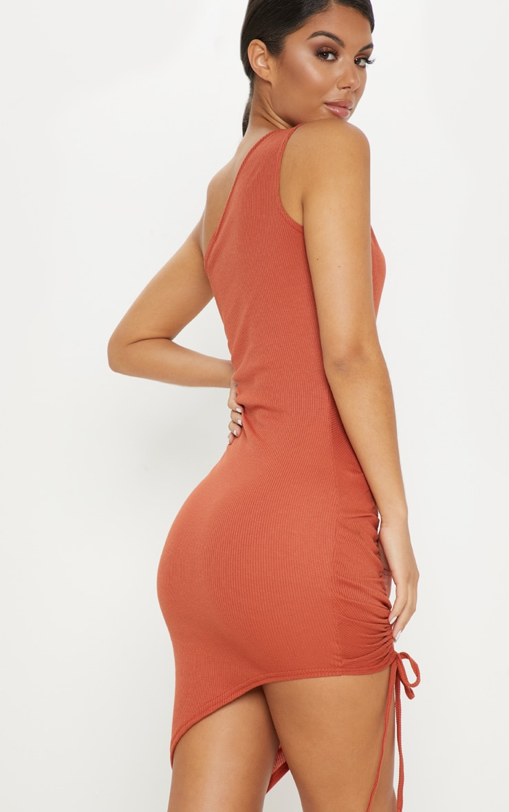 Rust Rib One Shoulder Ruched Bodycon Dress 2