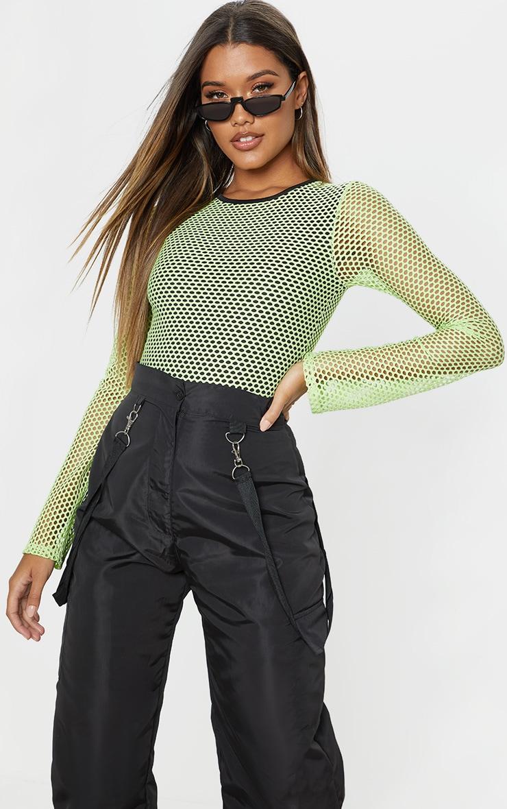 Neon Lime Fishnet Long Sleeve Bodysuit 1