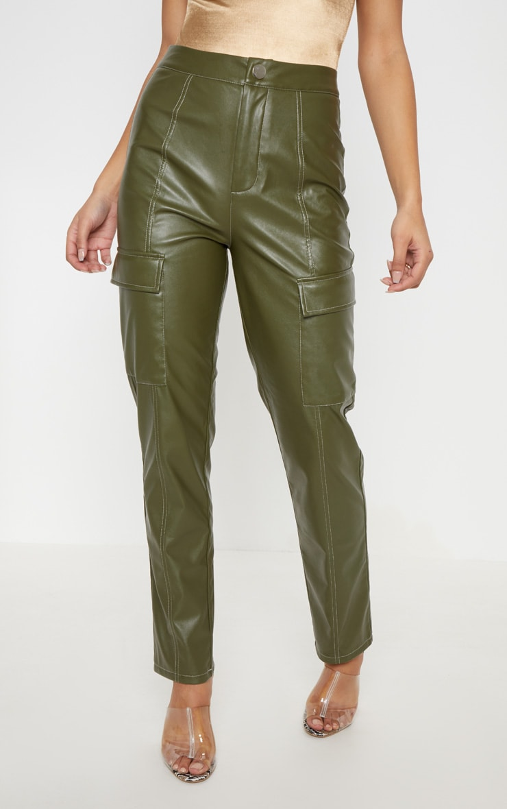 Khaki Faux Leather Cargo Pocket Straight Leg Pants  2