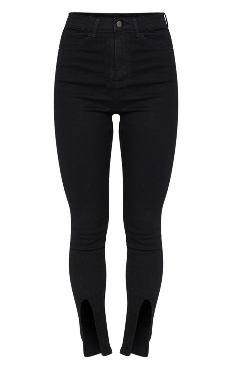 Black Front Split Hem Skinny Jeans 5