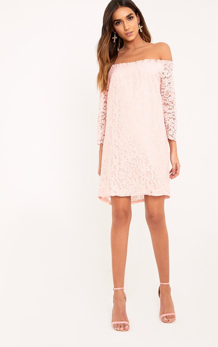 Cora Blush Lace Bardot Shift Dress 4