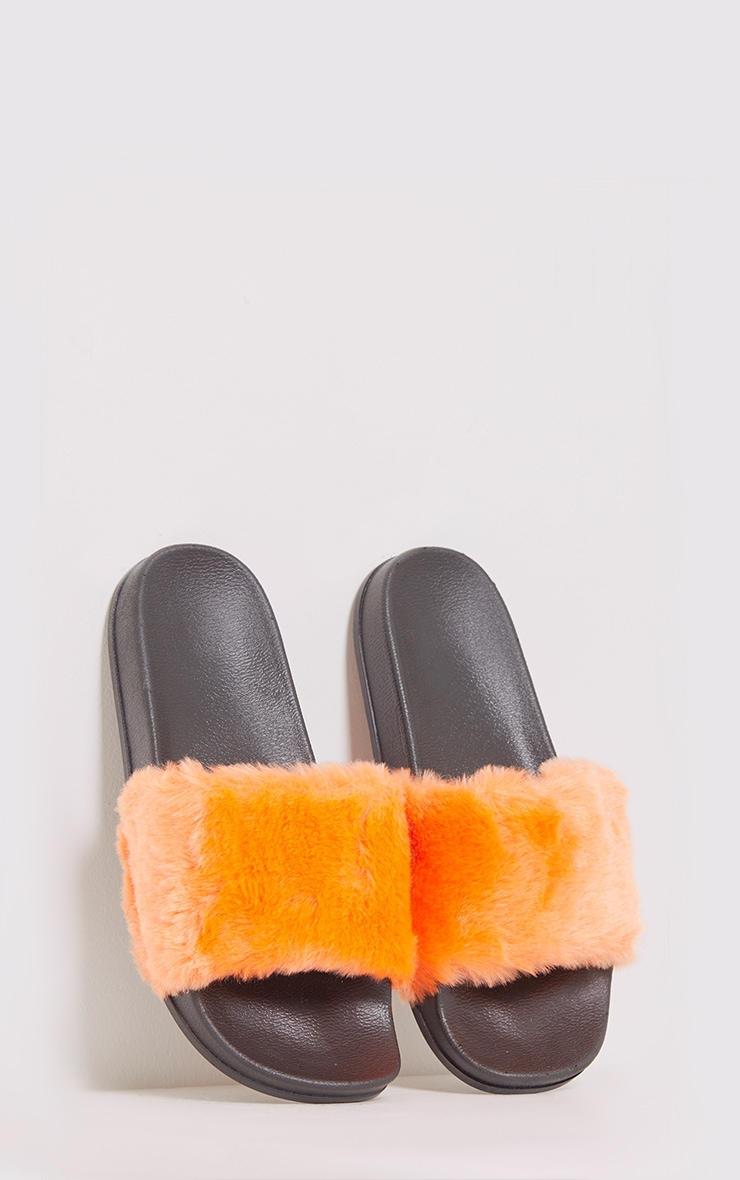 Emeline Orange Fluffy Sliders 1