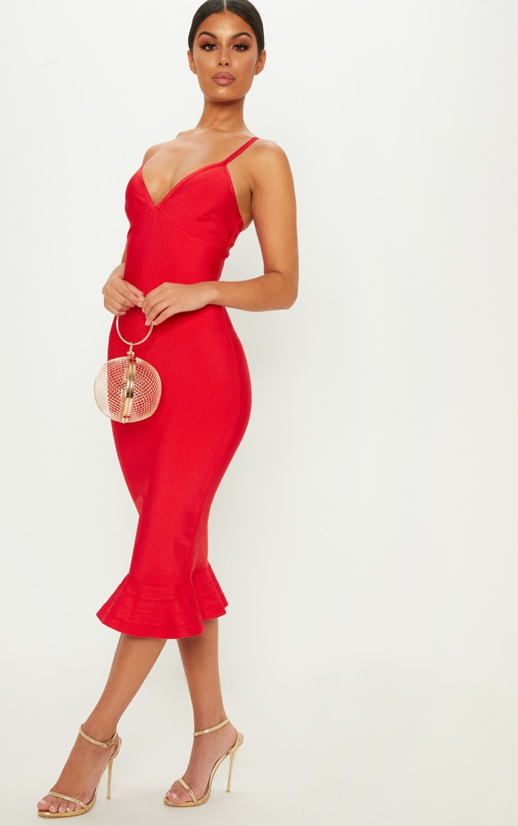 Red Bandage Strappy Frill Hem Midi Dress 4